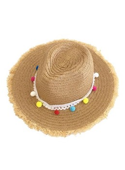 Casual Rough Selvedge Flat Brim Straw Sun Hat