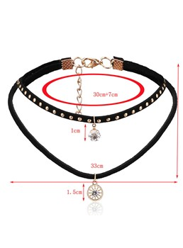 Wheel Shaped Diamante Double Choker Necklace