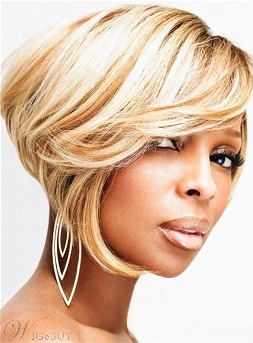 Smooth Hot Sale Bob Hairstyle Layered Straight Synthetic Hair Capless African American Wigs 8 Inches 12860465