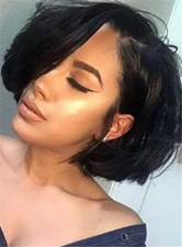 Bob Hairstyle Dark Brown Fascinating Straight Natural Human Hair Lace Front African American Wigs 8 Inches