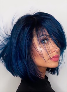 Bob Hairstye Smooth Layered Messy Natural On The Side Straight Synthetic Hair Lace Front Women Wigs 8 Inches