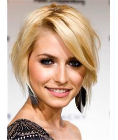 Short Soft Glamour Silky Straight Synthetic Hair Lace Front Women Wigs 8 Inches