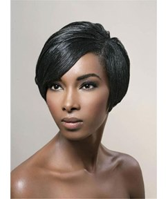 Pixie Boy Cuts Straight Natural Black Short One Side Part Synthetic Hair With Bangs Capless Wigs 6 Inches
