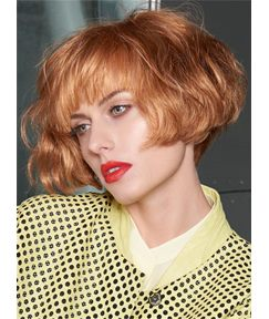Short Fluffy Bob Hairstyle Cute Wavy Synthetic Hair Capless Women Wigs 8 Inches