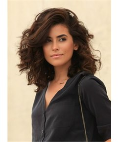 One Side Part Messy Large Voluminous Curles Wave Synthetic Hair Medium Lace Front Cap Wigs 14 Inches