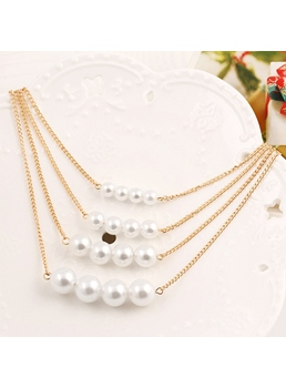 Hot Multilayer Pearl Alloy Necklace