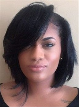 Natural Black Layered Short Bob Straight Synthetic Hair With Full Bangs Women Wigs Capless 10 Inches