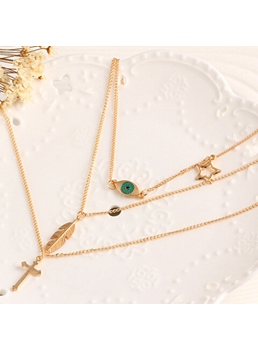 Simple Plain Long Chain Multilayer Necklace