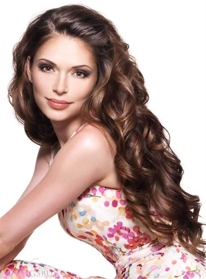 Attractive Long Fashionable Wavy Glamour Human Hair Lace Front Women Wig 28 Inches