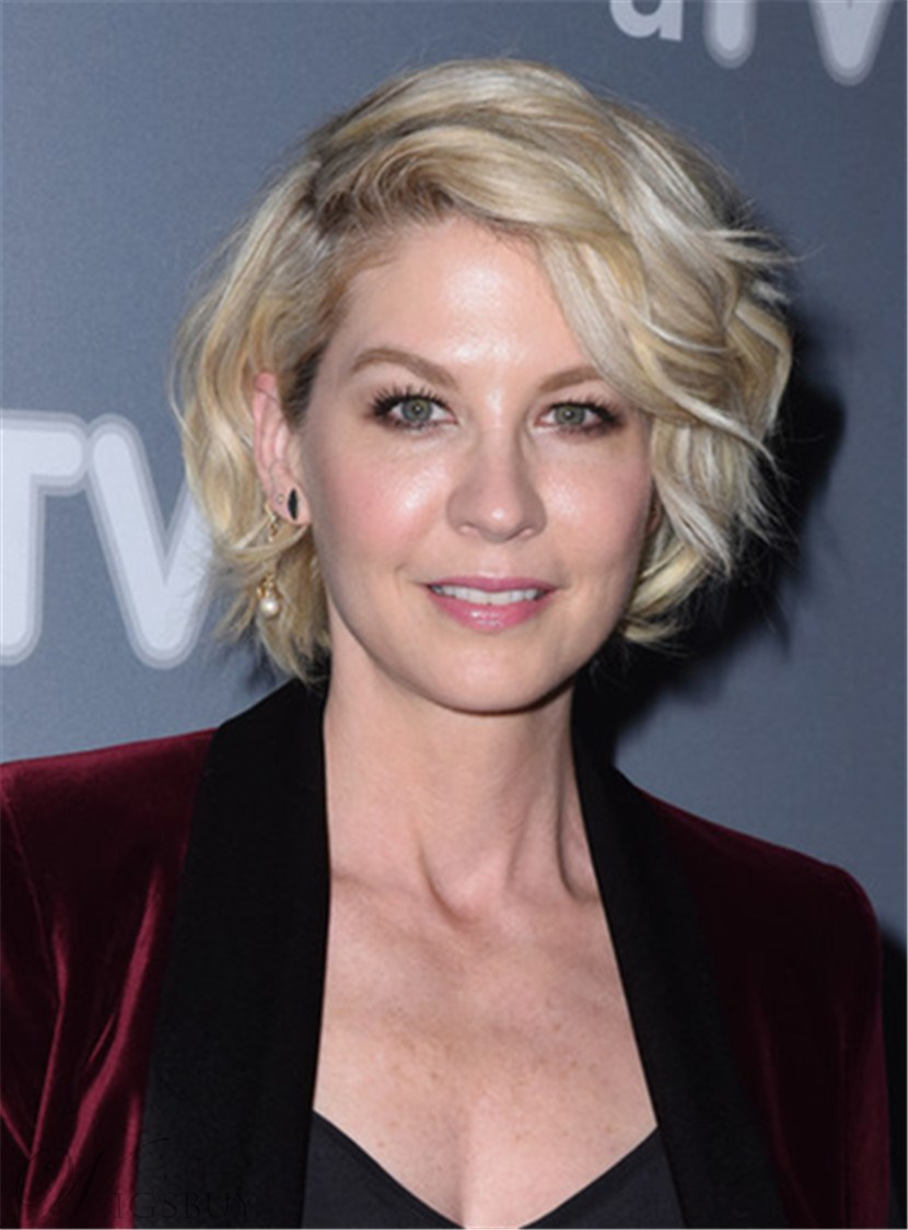 Jenna Elfman Loose Wavy Out Bob Hairstyle Lace Front Synthetic Hair Women Wig 10 Inches