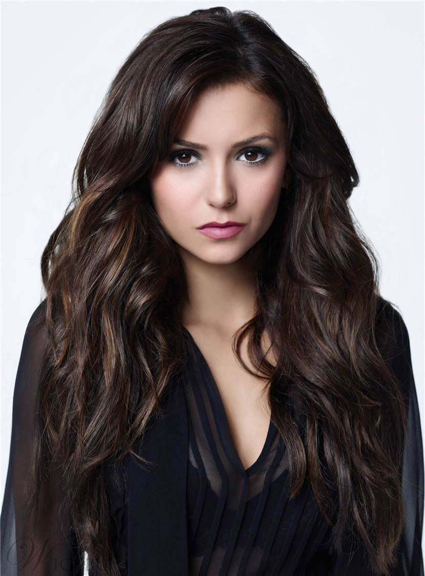 Charming Long Natural Wavy Sexy Human Hair Lace Front Women Wig 26 Inches