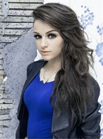 Cher lloyd Side Swept Loyered Loose Wave Long Human Hair Lace Front Women wig 22 Inches