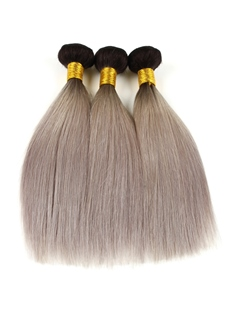 Dark Root Gray Straight Long Smooth Human Hair Weave 1Pc