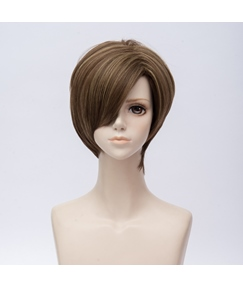 Resident Evil Lyons Milk Tea Straight Synthetic Hair Capless Coslpay Wig 8 Inches