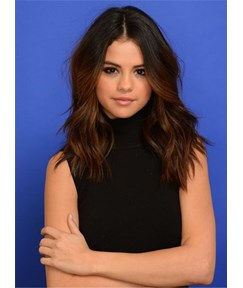 Selena Gomez Mid Part Water Wave Human Hair Women Wig Lace Front Cap