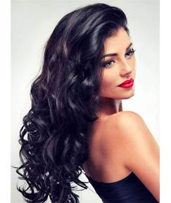 Attractive Top Quality Long Wavy Lace Front Human Hair Women Wigs 22 Inches