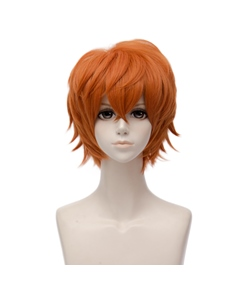 Mystic Messenger 707 / Luciel Orange Straight Synthetic Hair Capless Cosplay Wig 8 Inches