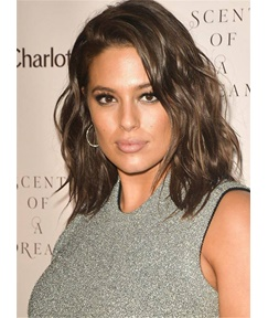 Ashley Graham Light Brown Bob Smooth Wavy Tilted Super Star Elegant Natural Synthetic Lace Front Hair 12 Inches