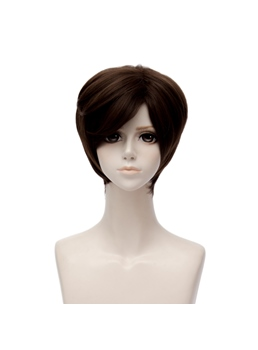 Mystic Messenger Jeahee Kang Dark Brown Short Straight Synthetic Hair Capless Cosplay Wig 8 Inches