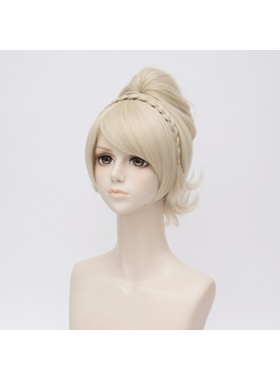 Final Fantasy 15 Golden Brown Wavy Synthetic Hair Capless Coslpay Wig 14 Inches