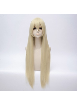 Long Blond Hair Synthetic Straight Capless Cosplay Wig 30 Inches