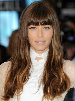 Jessica Biel With Bangs Smooth Mixed Color Elegant Celebrity Sexy Synthetic Hair Capless Women Wigs 16 Inches