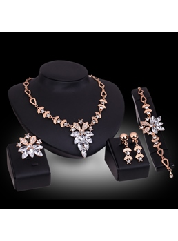 Rhinestone Alloy Jewelry Set