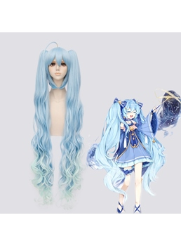 Snow Miku 2017 Lang Light Blue Synthetic Loose Wave Capless Cosplay Wig 30 Inches