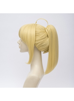 Fate Saber Lily Pony Tail Yellow Straight Synthetic Hair Capless Coslpay Wig 12 Inches