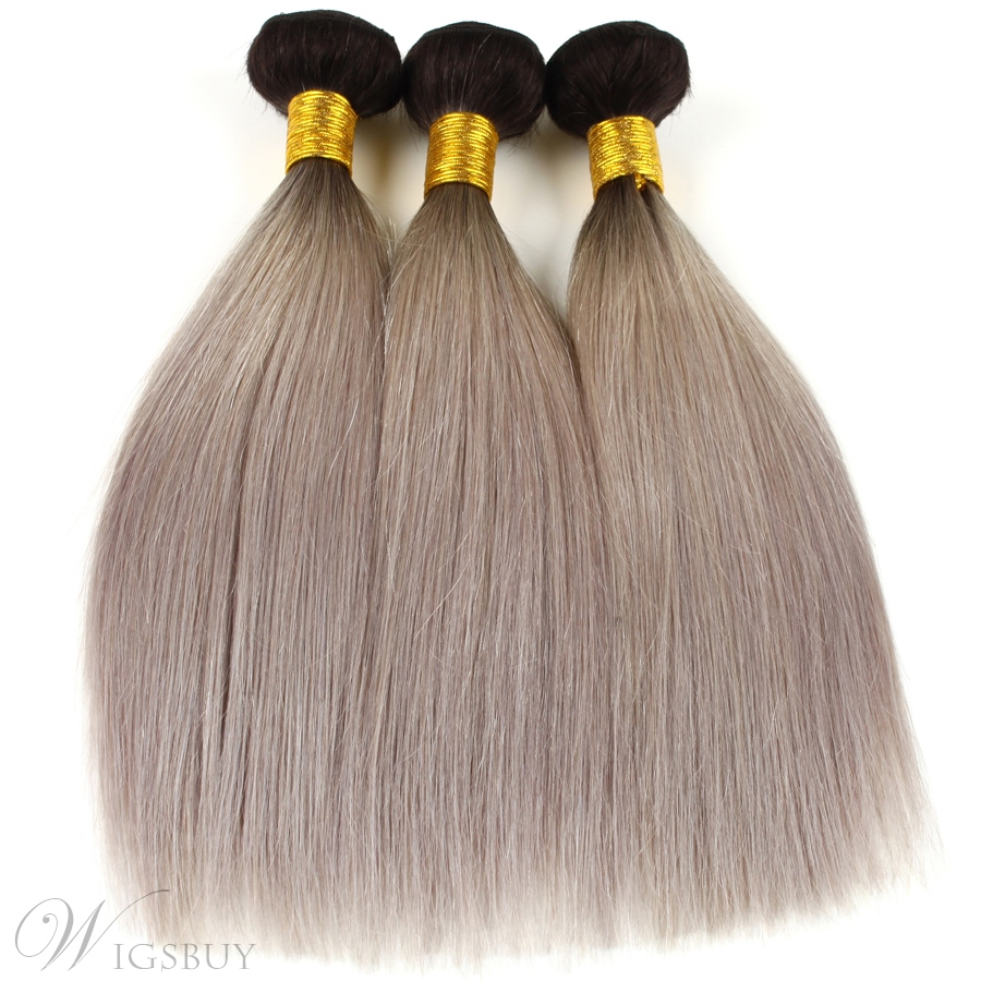 Dark Root Gray Straight Long Smooth Human Hair Weave 1pc Wigsbuy