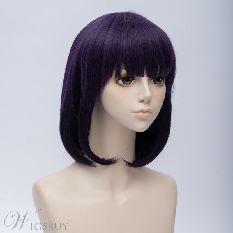Scum's Wish Blue Purple Straight Synthetic Hair Capless Coslpay Wig 12 Inches