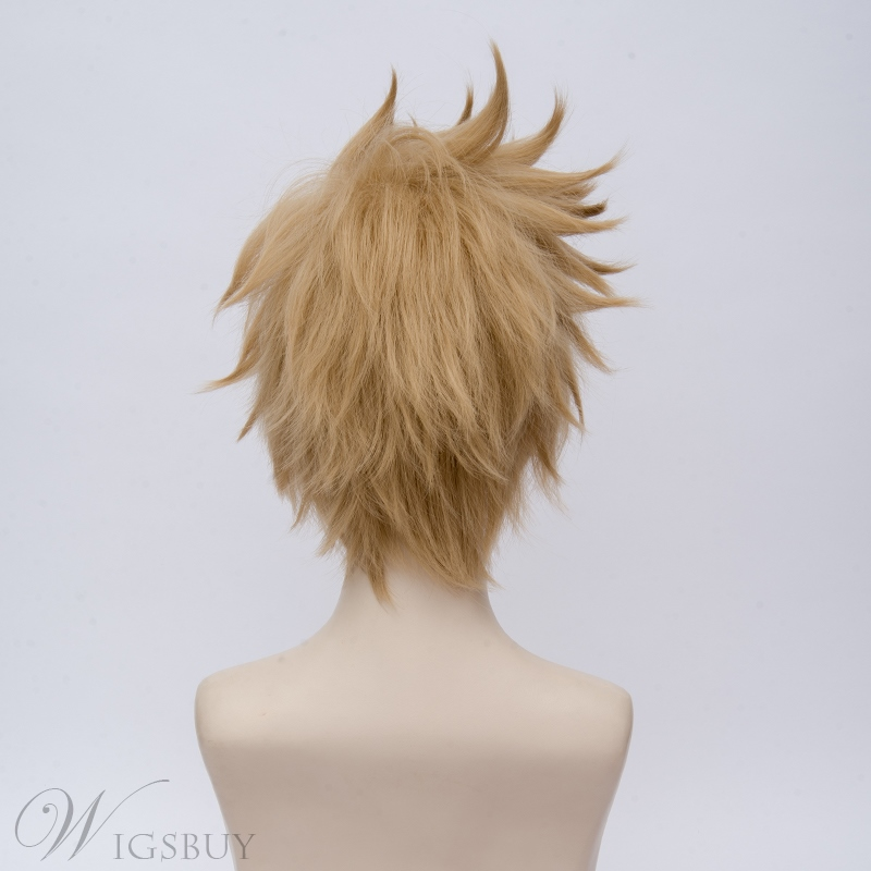 Final Fantasy 15 Prandong Light Golden Brown Straight Synthetic Hair Capless Cosplay Wig 10 Inches