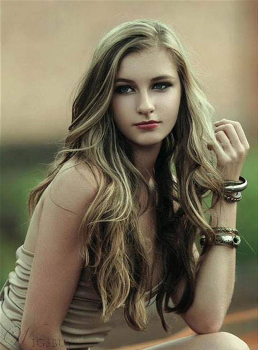 Fashion Youthful Long Wavy Lace Front Synthetic Hair Women Wigs 24 Inches