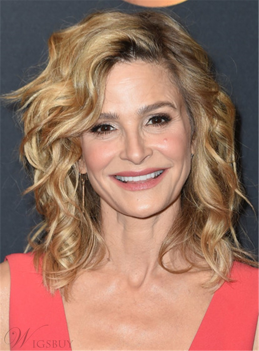 Kyra Sedgwick Medium Deep Wavy Lace Front Human Hair Women Wig 10 Inches