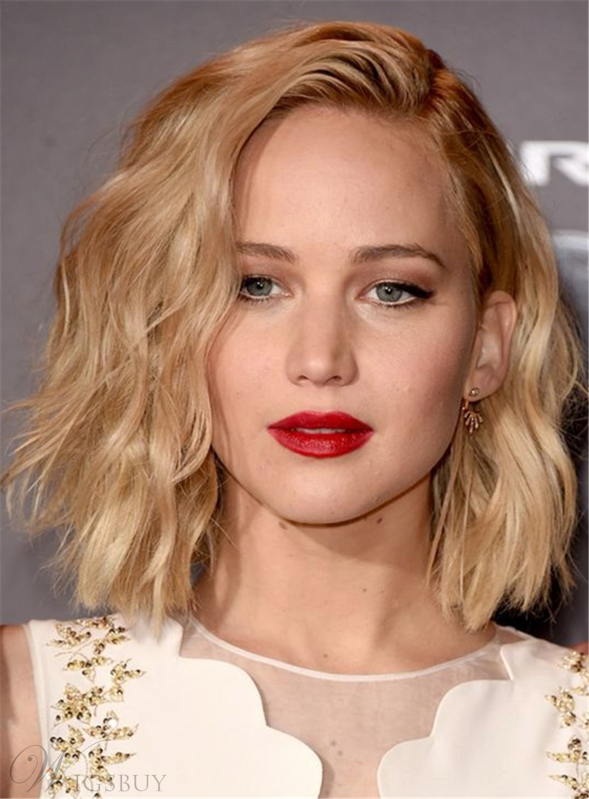 Jennifer Lawerence Bob Blonde Celebrity Shoulder-Length Hair Smooth Layered Gorgeous Natural Silky Wavy Human Hair Lace Front 10 Inches