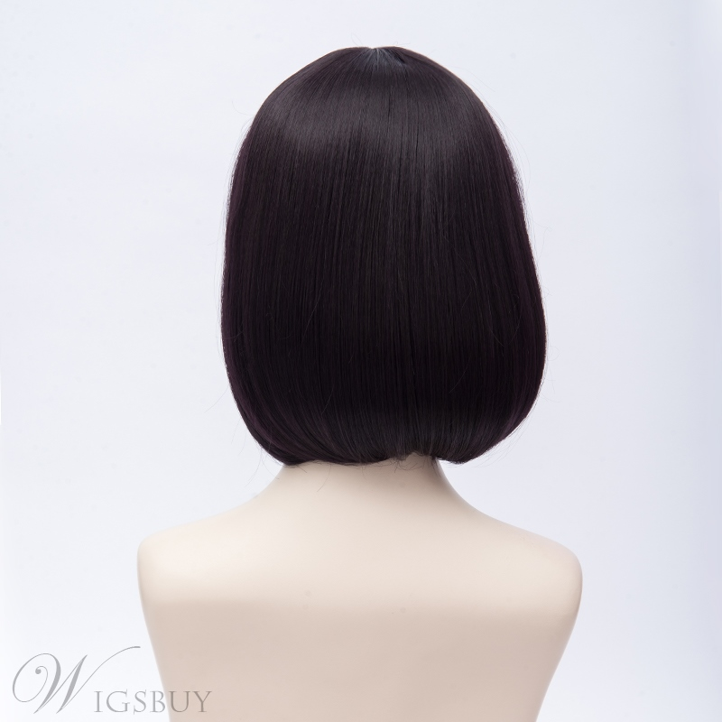Scum's Wish Purple Black Straight Synthetic Hair Capless Coslpay Wig 10 Inches