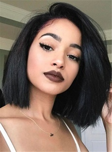Fascinating Neat Smooth Shoulder-length Natural Human Hair Lace Front African American Wigs 10 Inches