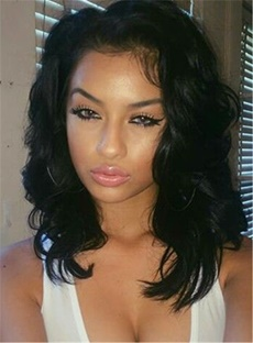 Shoulder-length Hair Elastic Natural Sexy Deep Wavy Synthetic Lace Front African American Wigs 14 Inches