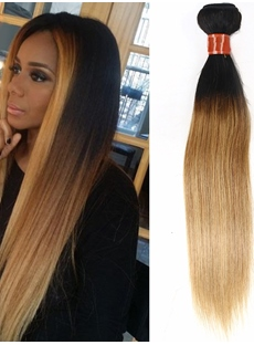 Dark Root Light Brown Straight Human Hair Weave 1 Pc