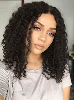 Center Part Kinky Curly Medium Synthetic Hair Bob For Round Face Lace Front Cap African American Wigs 14 Inches