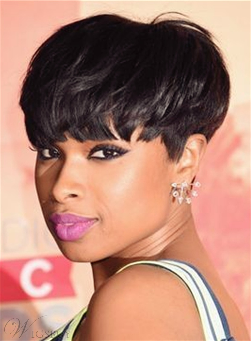 100 Human Hair Jennifer Hudson Pixie Black Layered Celebrity Short Wigs Ebay