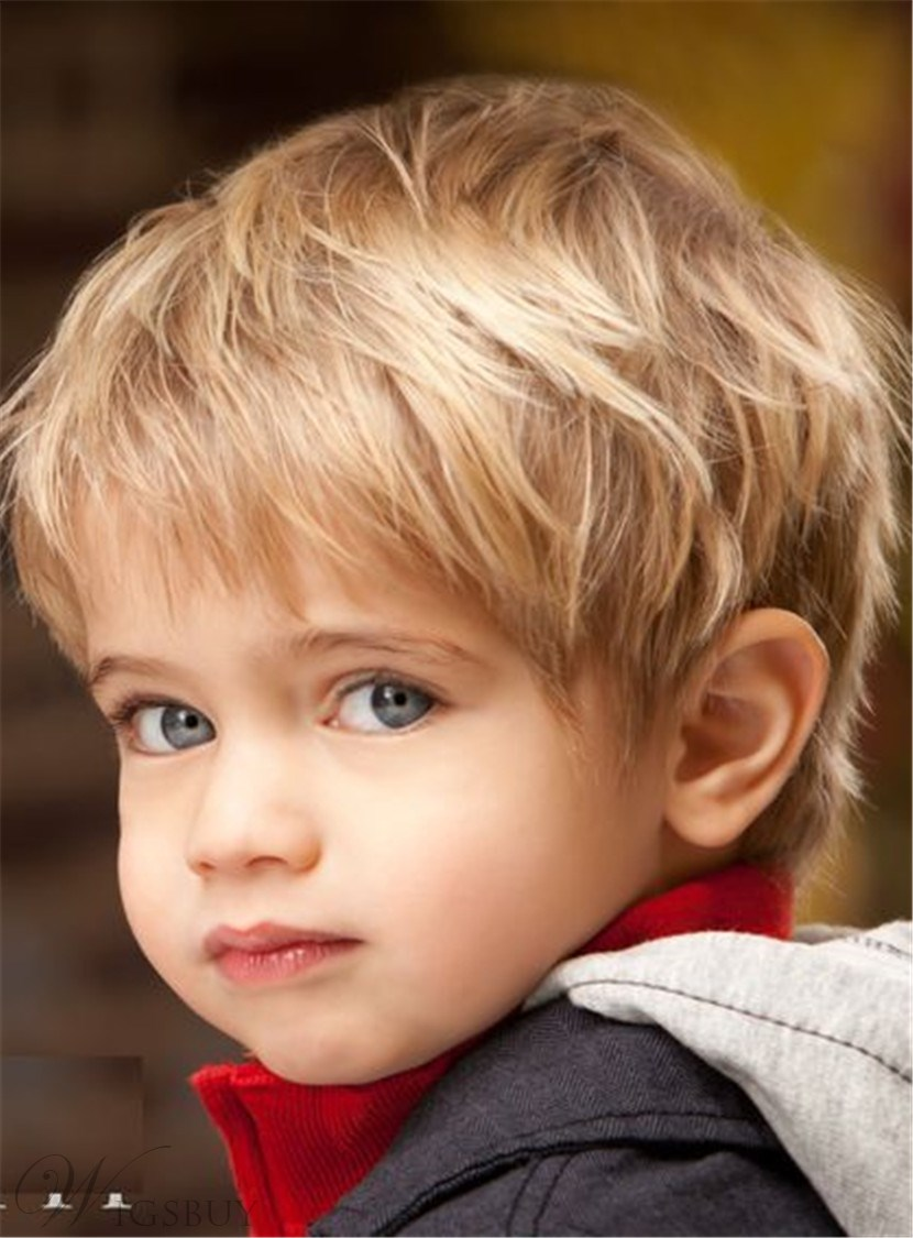 Cute Short Bangs Straight Human Hair Capless Child Wig