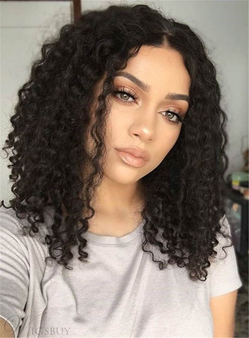 Center Part Kinky Curly Medium Synthetic Hair Bob For