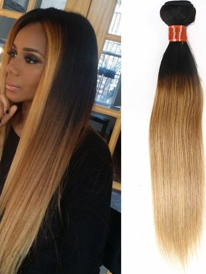 Dark Root Light Brown Straight Human Hair Weave 1 Pc Wigsbuy