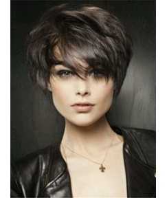 Short Loose Layered Pixie Hairstyle Straight Human Hairs Capless Women Wigs 6 Inches