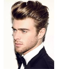 Half Shaved Voluminous Human Hairstyle Short Cut Straight Full Lace Men Wig