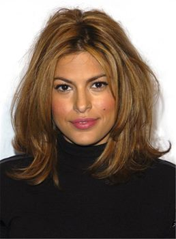 Eva Mendes Bob Hairstyles Blonde Straight Elegant Layered Synthetic Hair Mid-Length African American Wigs Lace Front Cap 14 Inches