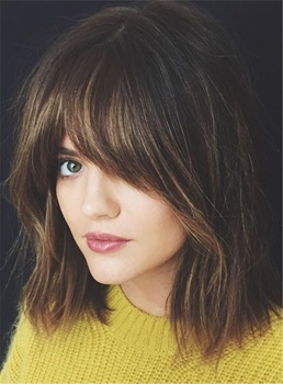 Chic Layered Soft With Bangs Fluffy Straight Mid-Length Synthetic Capless Women Wigs12 Inches