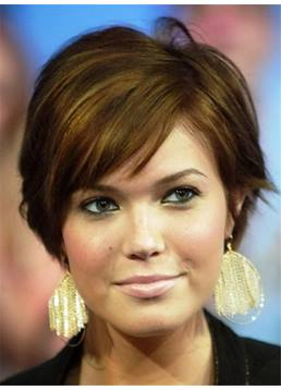 Short Soft Natural Pixie Hairstyle Straight Human Hair Capless Women Wigs 6 Inches