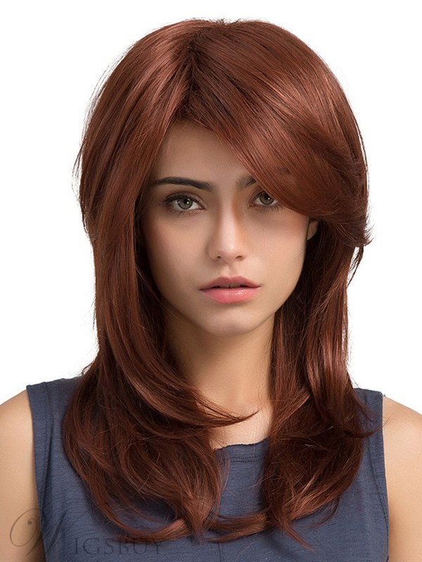 Natural Straight Red Synthetic Long Capless Women Wigs 13187307